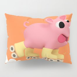 Rosa the Pig does Rollerskating Pillow Sham