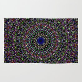 Colorful Sacred Kaleidoscope Mandala Rug