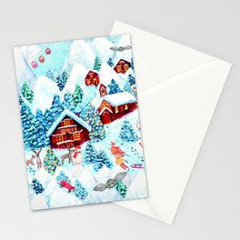 Alpine Chalets with reindeer, owls and snow (watercolor) Stationery Cards