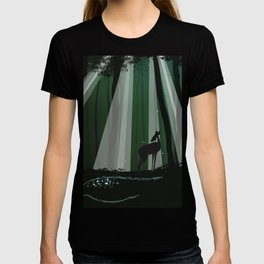 Deer in Dark Forest Graphic Illustration T-shirt