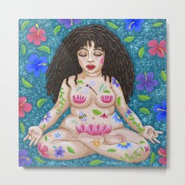 Meditating Maiden: Becoming One With Nature Metal Print