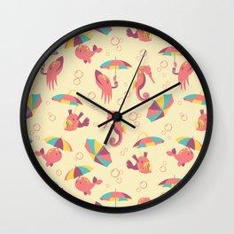 A Chance of Rain - Coral & Cream Wall Clock