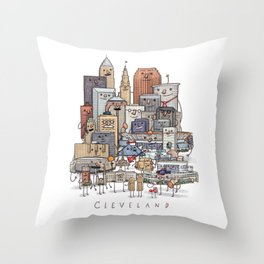 Cleveland Skyline group portrait Throw Pillow
