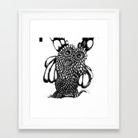 the who Framed Art Prints featuring Who? by Yeshead