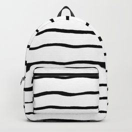 Black white hand painted geometrical stripes Backpack