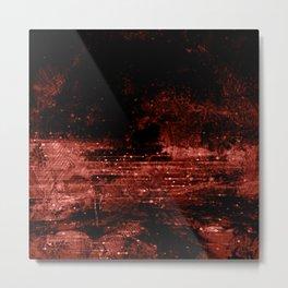 Burnt Sienna and Black Grunge Metal Print