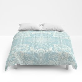 Floral Pattern in Duck Egg Blue & Cream Comforters