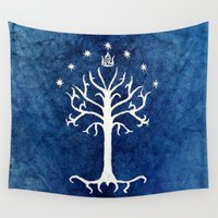 lotr Wall Tapestries featuring The White Tree by Jackie Sullivan