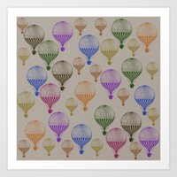 hot air balloons Art Prints featuring Colorful Hot Air Balloons by Zen and Chic