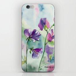 Sweet Pea Watercolour Painting iPhone Skin