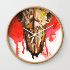red moon skull Wall Clock