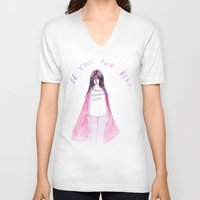 feminist V-neck T-shirts featuring Feminist Hero by Ambivalently Yours