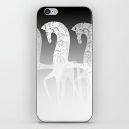 Horses in line - black and white #decor #society6 #buyart iPhone Skin
