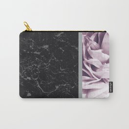 Light Purple Flower Meets Gray Black Marble #6 #decor #art #society6 Carry-All Pouch