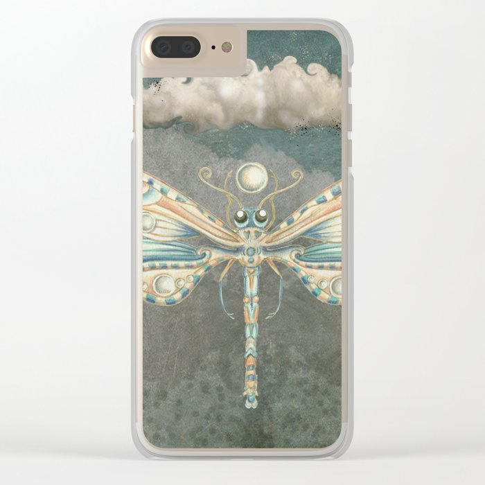 Dragonfly of the moon Clear iPhone Case