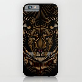 Lion Head - Line Art Grapic - Animal Drawing iPhone Case