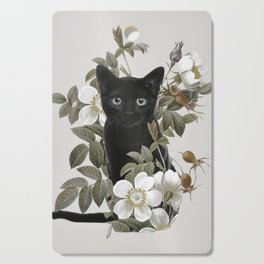 Cat With Flowers Cutting Board
