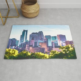 Minneapolis Minnesota Skyline Painted Style Rug