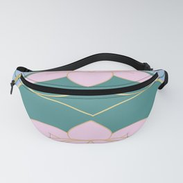 Pink lotus with gold outline  Fanny Pack