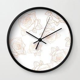 Metallic Roses Wall Clock
