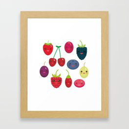 Kawaii Cherry Strawberry Raspberry Blackberry Blueberry Cranberry Cowberry Goji Grape Framed Art Print