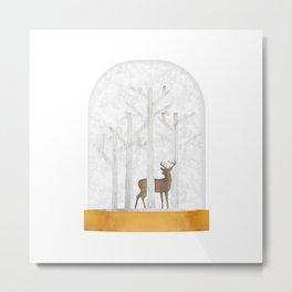 Deer  Snow Ball Metal Print