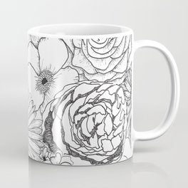 Flower Bouquet Black and White Illustration Coffee Mug
