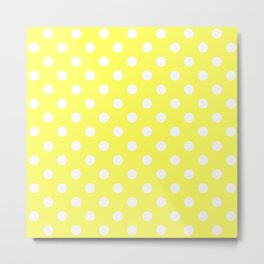 Polka Dots (White & Yellow Pattern) Metal Print