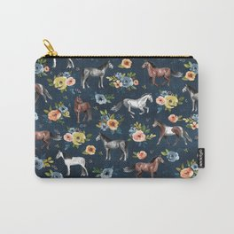 Wild Horses, Horse and Floral Print, Navy Blue, Watercolor Painting, Illustrated Horses, Flowers,  Carry-All Pouch