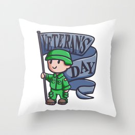 Veteran soldier flag war America comic gift Throw Pillow