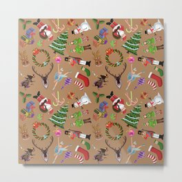 The Elements of Christmas (Pattern) (Light Brown) Metal Print