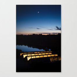 Moon over Charles River Canvas Print
