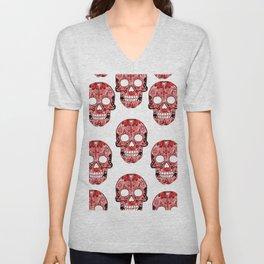 Red Skulls Pattern Unisex V-Neck