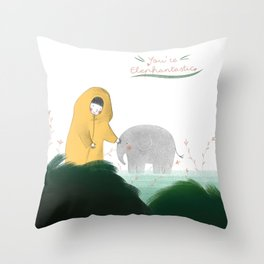Friends with a little elephant Throw Pillow