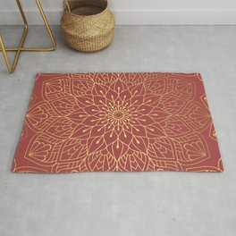 Gold Mandala Pattern On Cherry Red Rug