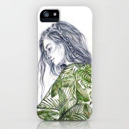 Tropical Palm Print Portrait iPhone Case