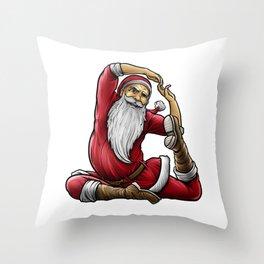 Yogi Santa Claus | Namaste Yoga Christmas Mantra Throw Pillow