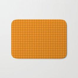 Orange Grid Black Line Bath Mat