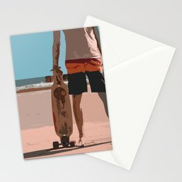 Retro Surf Long board Dude Stationery Cards