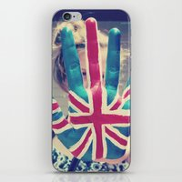 british flag iPhone & iPod Skins featuring british flag love by Starr Shaver
