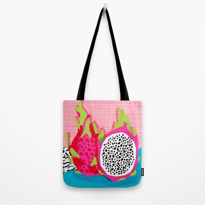 Hard Core - memphis throwback retro neon tropical fruit dragonfruit exotic 1980s 80s style pop art Tote Bag
