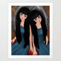 Mirror sisters, horror themed art.  Art Print