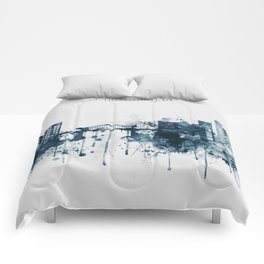 Blue Chattanooga skyline design Comforters