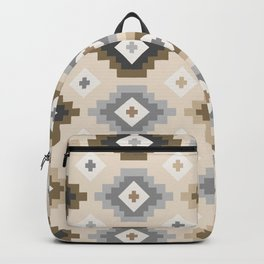 Ethnic Pattern - Neutral Brown and Grey Tones Backpack