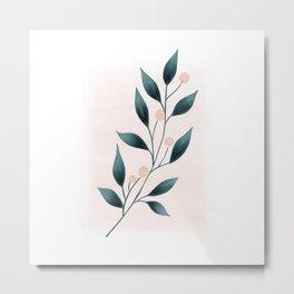 Minimalist Botanical Watercolor  Metal Print
