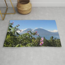 Lago Atitlan and flowers Rug