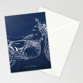24-2013 Suzuki TU250X BLUE, Bike blueprint, gift for man Stationery Cards
