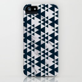 Southwestern Triangle Design over White Grey Marble iPhone Case