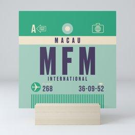 Retro Airline Luggage Tag - MFM Macau Mini Art Print