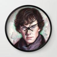 sherlock holmes Wall Clocks featuring Sherlock Holmes by Olechka